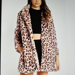 Jackets & Blazers - Rainy day saleHP! Boho leopard delight PINK faux f
